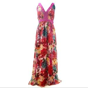 Sleeveless VNeck Watercolor Floral Maxi Dress Plus